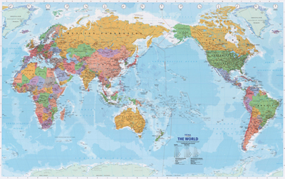 New Zealand Map On World.World Large Nz Centred Map Gloss Lamination