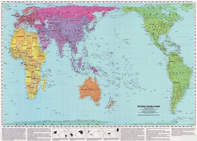 New Zealand Maori Map.World Peters Projection