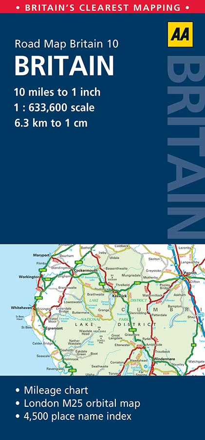 aa road map britain folded