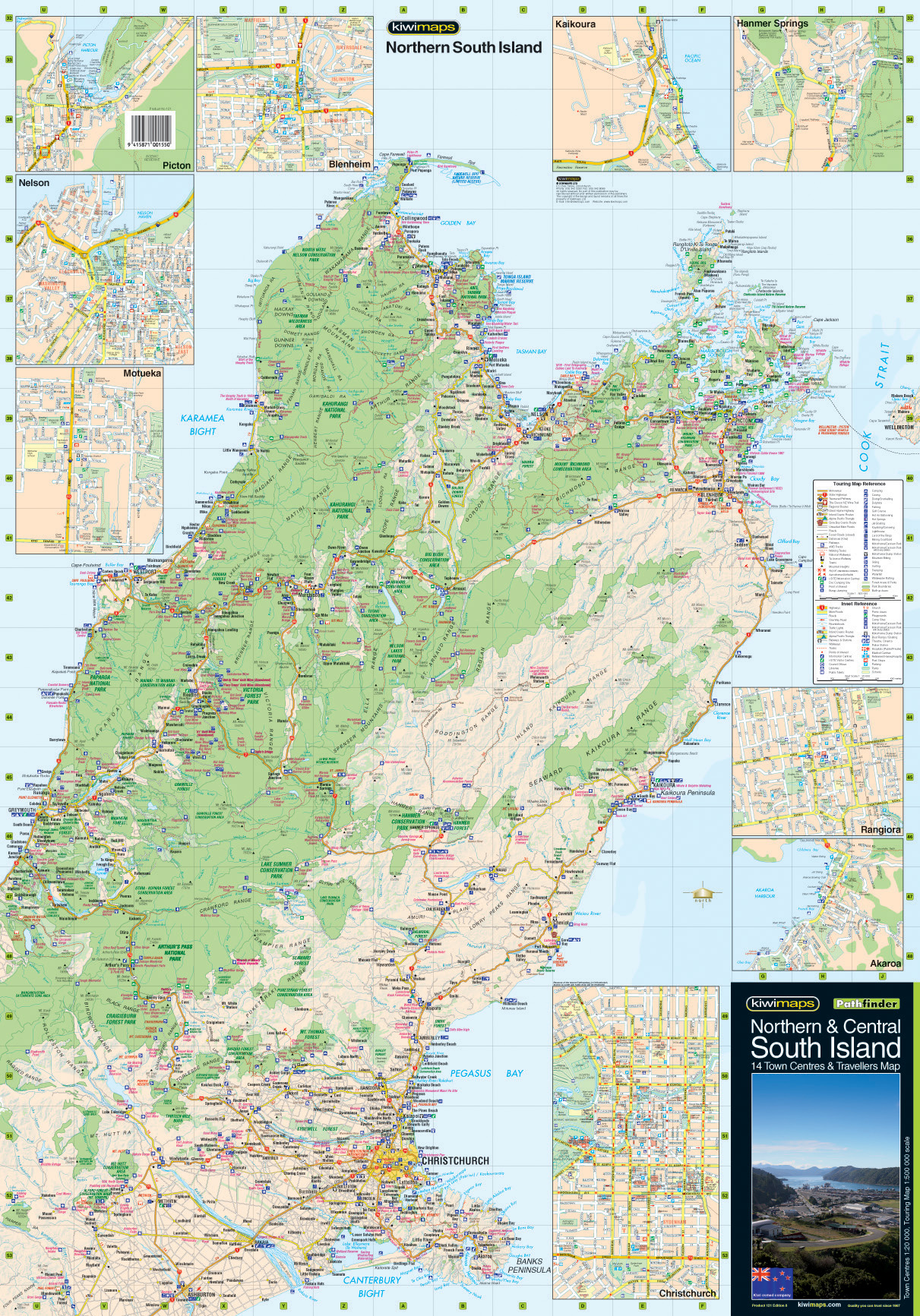 New Zealand Road Map South Island.Northern Central South Island Road Map