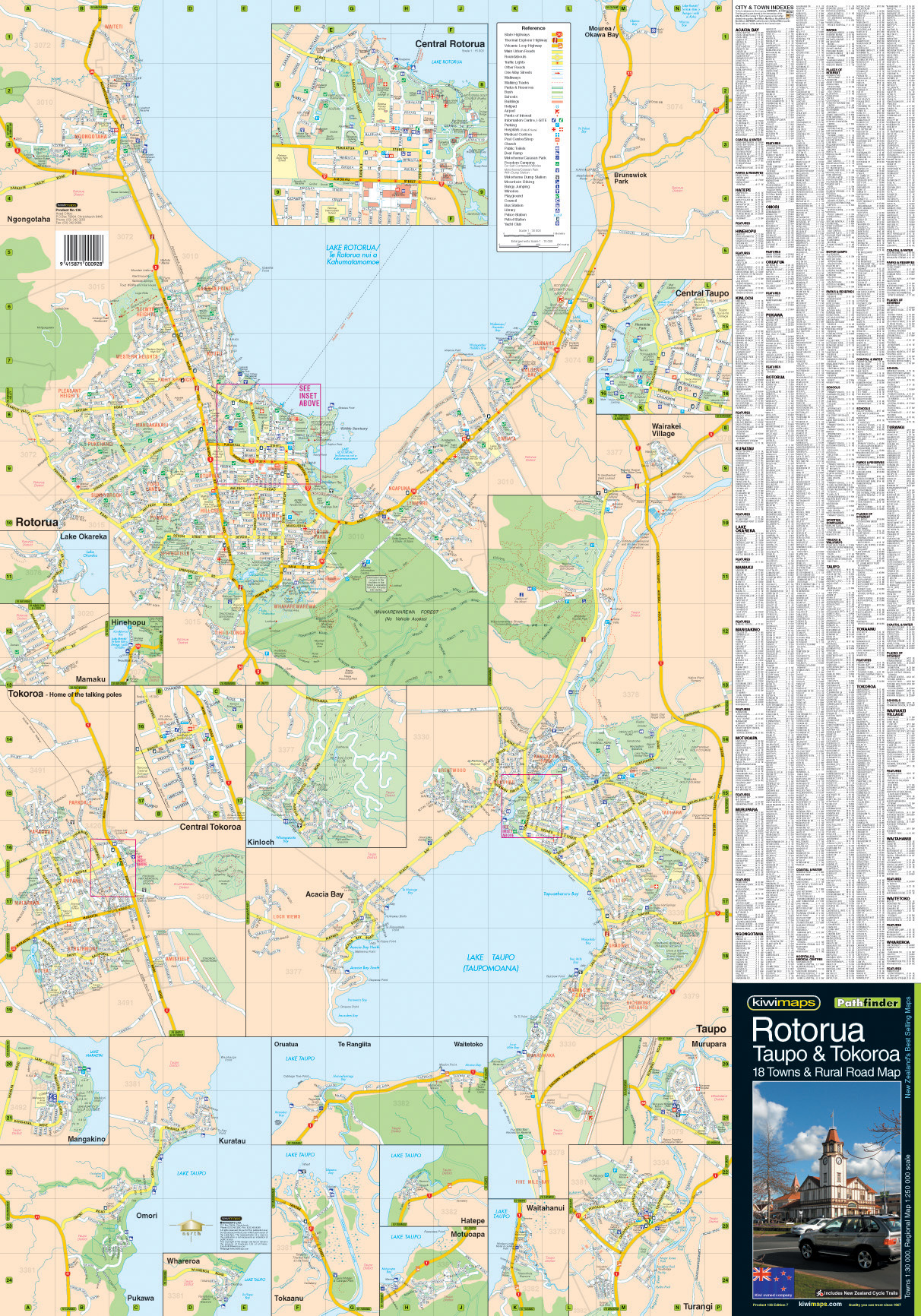 Rotorua New Zealand Map.Rotorua Taupo District Road Map